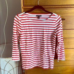 J crew quarter sleeved striped top